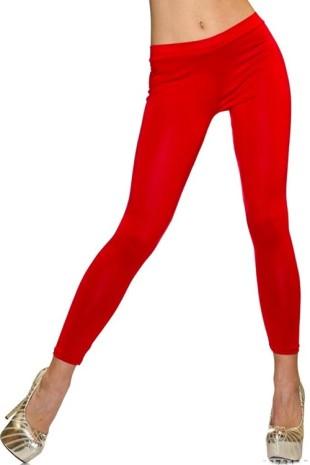 Levné červené dlouhé dámské legíny s pružným pasem