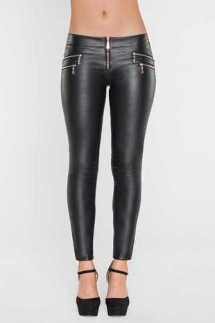 Černé kalhotové legíny v koženém vzhledu střihu slim fit