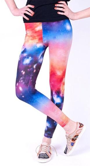Barevné dámské space legíny se vzorem vesmíru