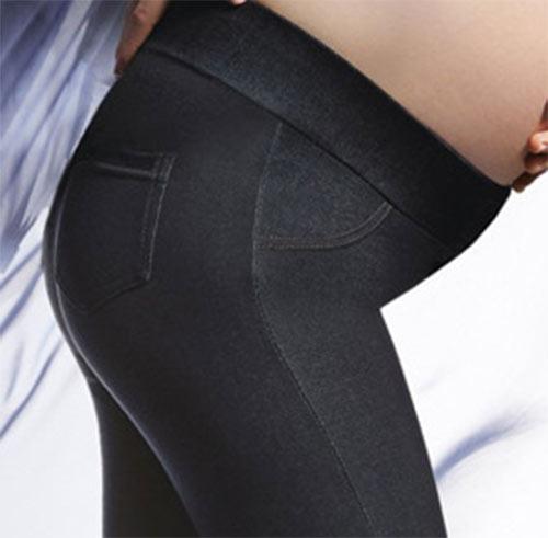 Riflové kalhotové legíny s kapsou
