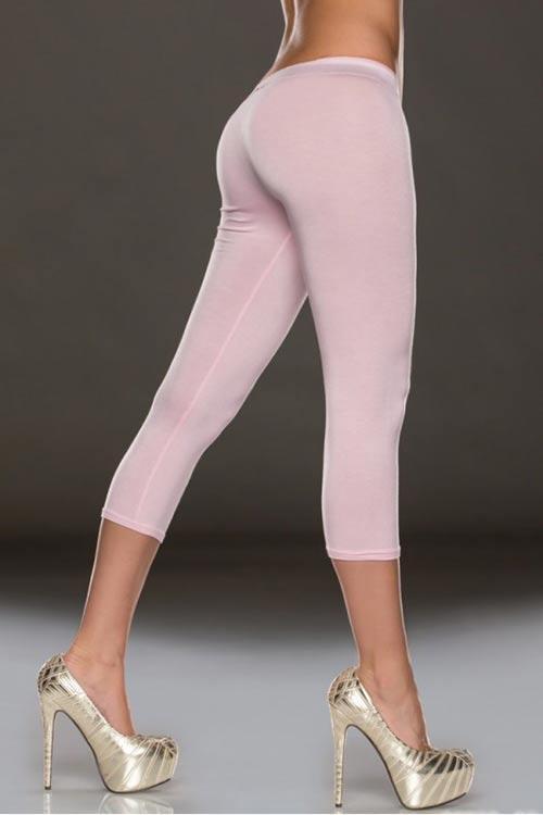 Světle růžové dámské tříčtvrteční legíny s délkou pod kolena