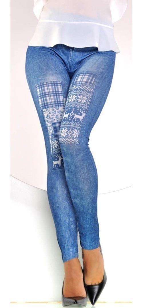 Modré džínsové legíny