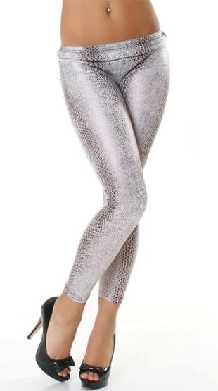 Levné sexy stříbrné lesklé legíny