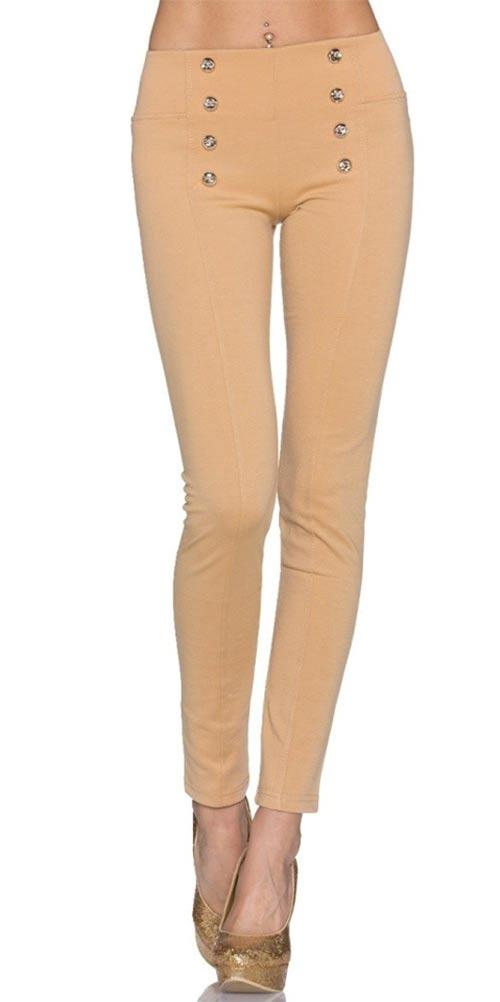 Béžové dlouhé dámské kalhotové legíny s pružným pasem