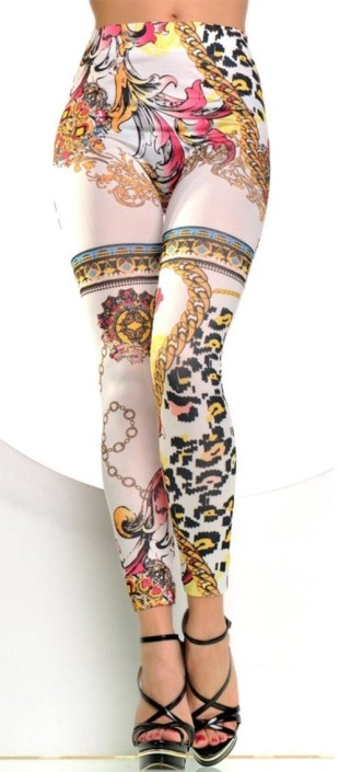Bílé dlouhé legíny Japan Style s výrazným barevným potiskem