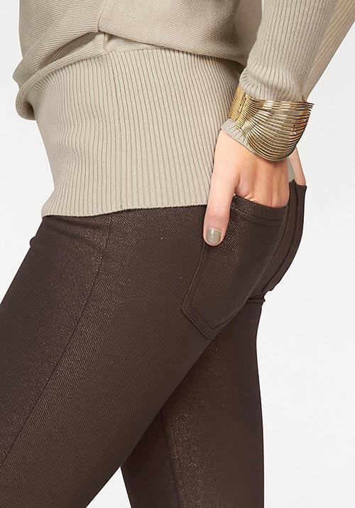 Hnědé kalhotové legíny s kapsami