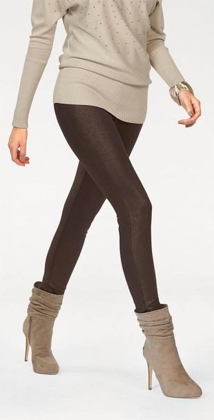 Sexy hnědé třpytivé legíny ve stylu džínů