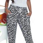 Černobílé leopardí legíny s kapsami