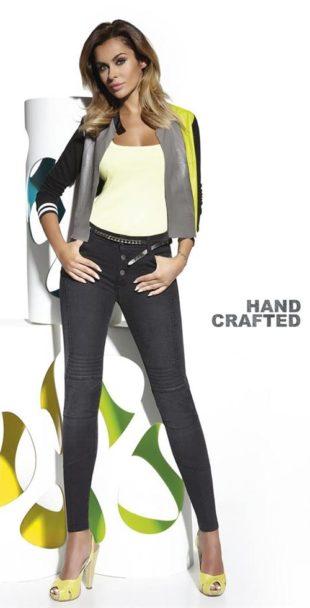 Dámské elastické kalhoty s vyšším pasem
