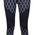 Tmavě modré fitness legíny s geometrickým vzorem