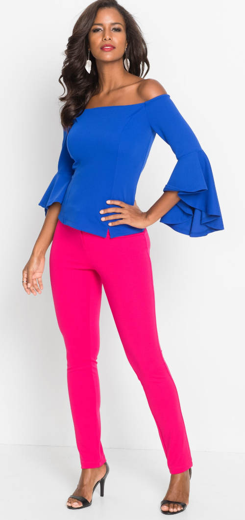 Růžové elastické kalhoty