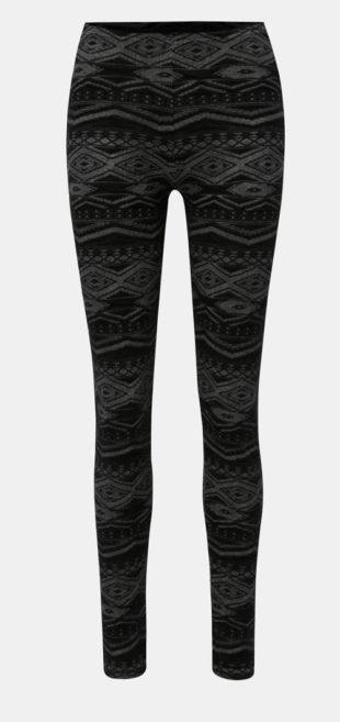 Černo-šedé legíny s aztéckým vzorem