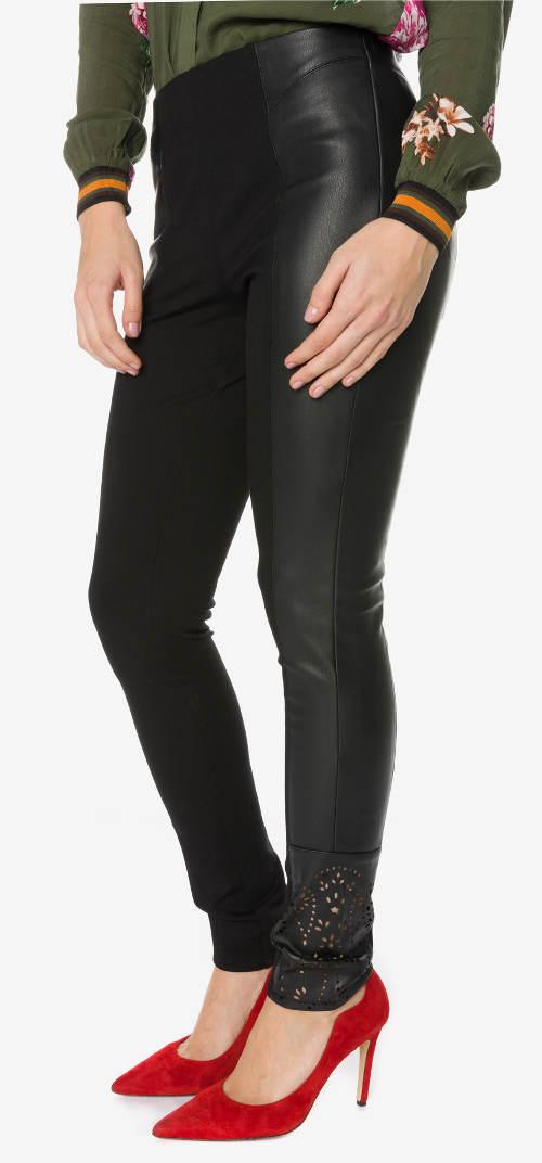 Koženkové Desigual - Harvey kalhotové legíny