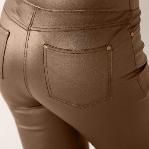 Měděné legínové kalhoty s kapsami