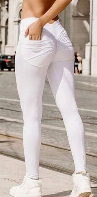 Bílé kalhoty na jógu