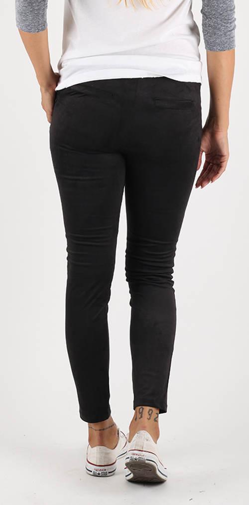 Černé semišové dámské kalhoty