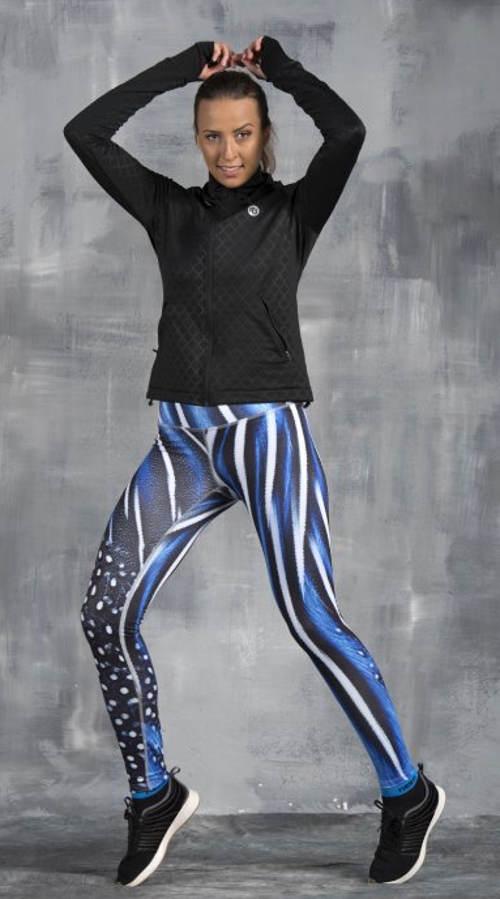 Modré dámské běžecké legíny