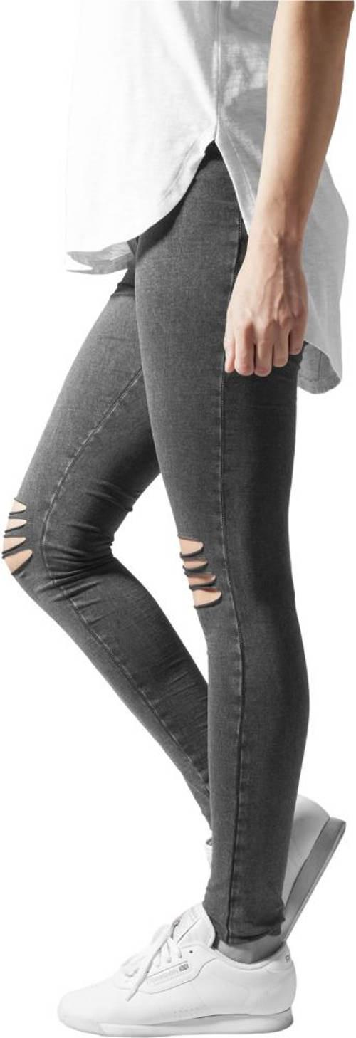 Šedé džínové legíny s průstřihy na kolenou