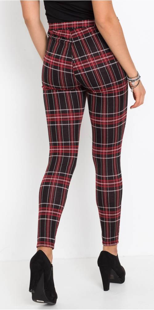 Úzké karované dámské kalhoty