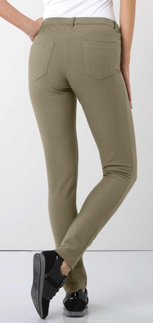 Tmavě béžové dámské legínové kalhoty