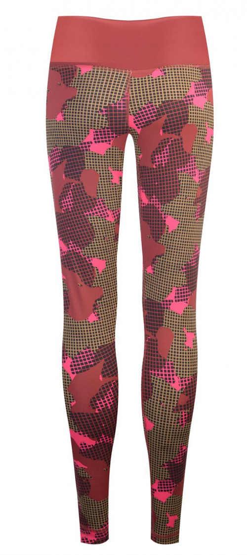 Maskáčové růžové fitness leginy Nike