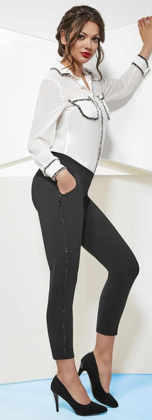 Černé legínové kalhoty s bočními kapsami