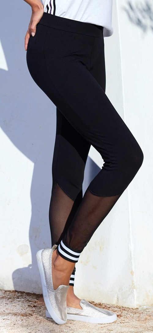 Dlouhé černé legíny s průhledným tylem od kolen dolů