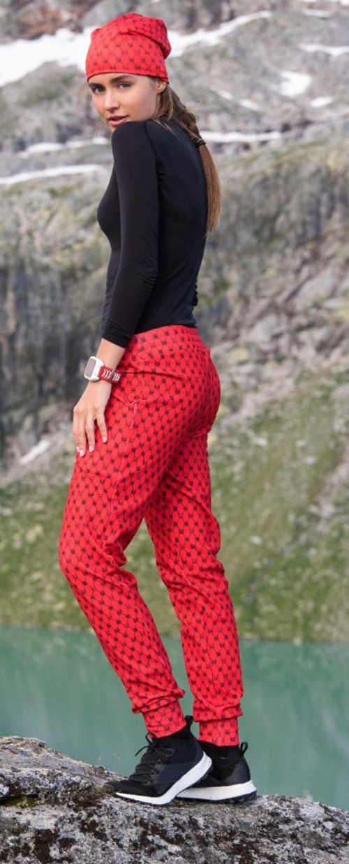 Červené zateplené kalhoty na běhání