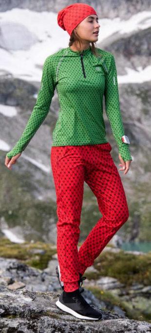 Zateplené červené dámské sportovní kalhoty