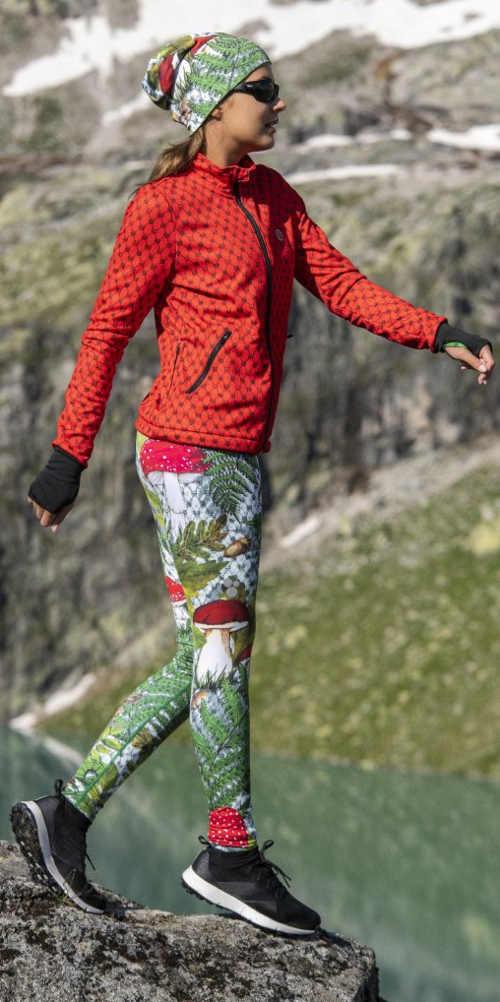 Běžecké legíny do chladného počasí s pestrobarevným potiskem