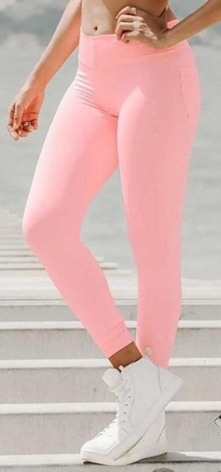 Jednobarevné růžové legíny na jógu