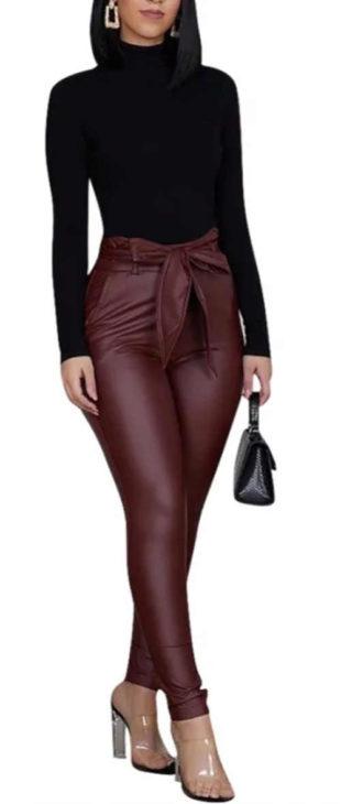 Koženkové legínové kalhoty s vysokým pasem