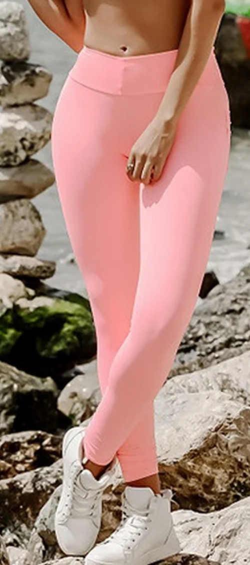 Světle růžové jednobarevné dámské legíny