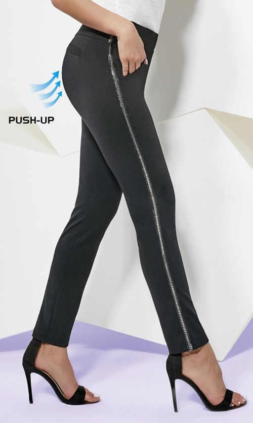 Černé dámské push-up legíny s kovovým páskem na boku