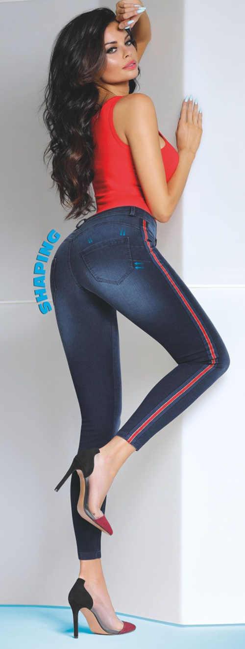 Jeansové legíny zeštíhlující postavu Bas Bleu Kaia