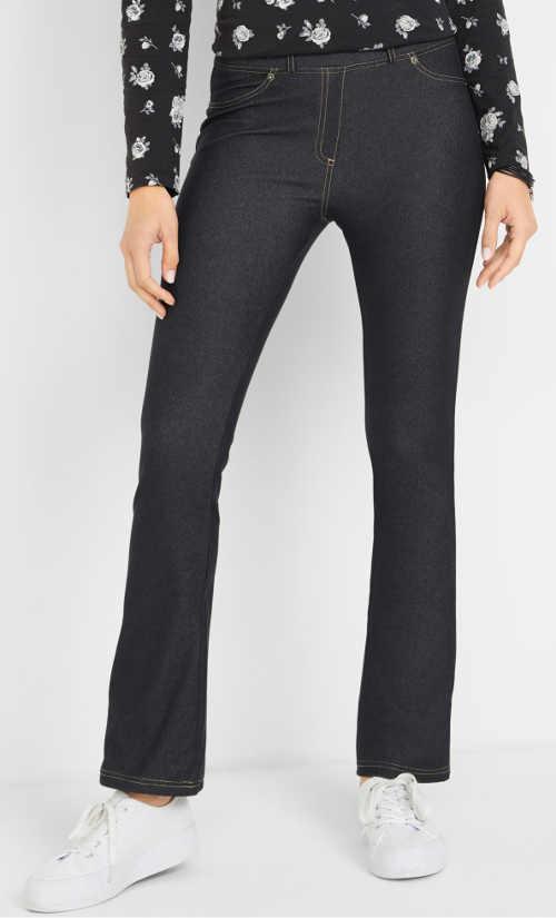 Tmavé riflové legínové kalhoty