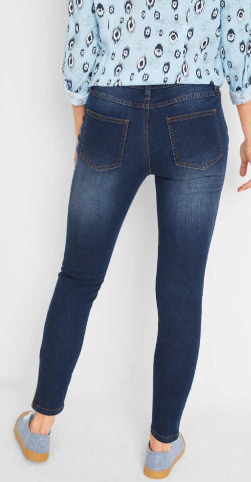 Tmavě modré dámské džíny se šisováním