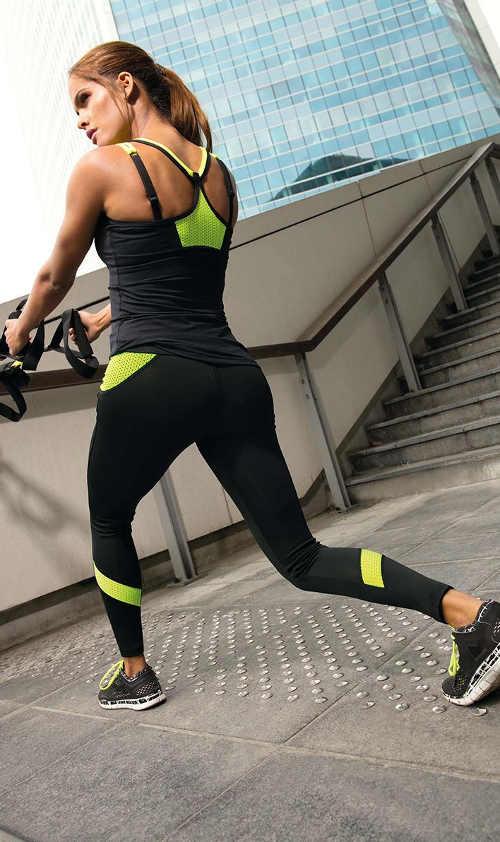 Sportovní legíny v černo-zelené barevné kombinaci