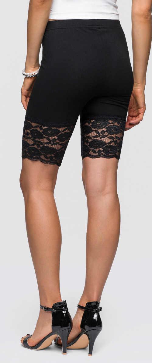 Černé dámské legínové šortky s krajkou