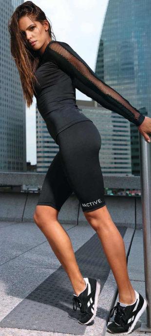 Krátké fitness aktiv legíny černé barvy