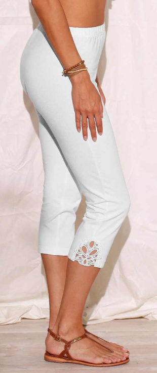 Bílé krátké dámské legíny s krajkou