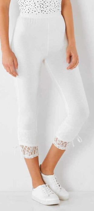 Legínové korzárské kalhoty s krajkou