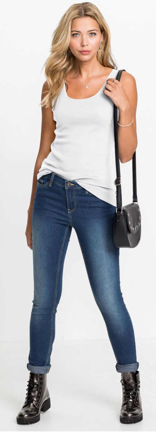 Moderní tmavě modré dámské skinny džíny