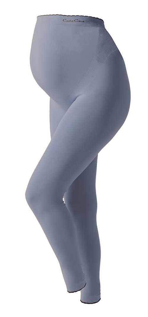 Šedé vysoké těhotenské legíny přes břicho