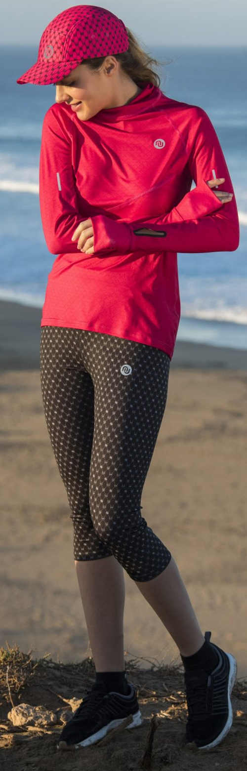 Tříčtvrteční běžecké dámské legíny s vysokým pasem