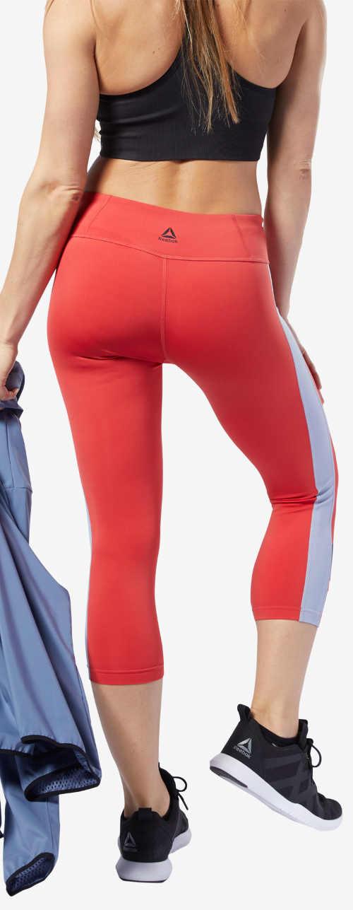 Červené sportovní capri legíny Reebok