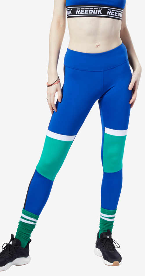 Modrozelené dámské sportovní legíny Reebok Wor Myt Paneled Polytight