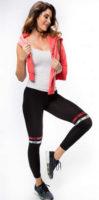 Černé dámské legíny s barevnými ozdobnými proužky nad koleny
