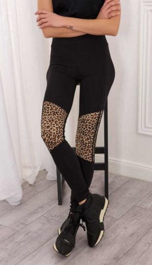 Černé dámské legíny se vsadkami s leopardím vzorem