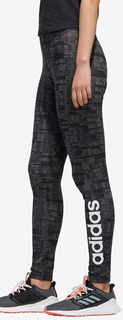 Černo-šedé dlouhé dámské vzorované legíny Adidas
